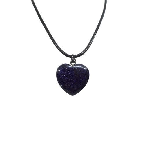 blue glitter heart pendant