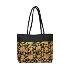 Golden Black Jute Bag
